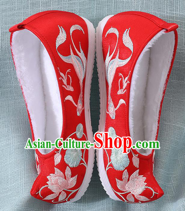 Chinese Handmade Embroidered Lotus Goldfish Red Shoes Traditional Ming Dynasty Hanfu Shoes Princess Shoes for Women