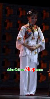 Chinese Dance Drama Wild Jujubes Classical Dance White Dress Stage Performance Dance Costume and Headpiece for Women