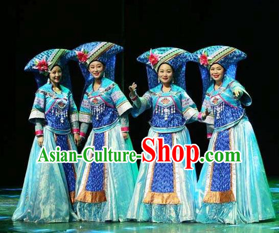 Chinese Dance Drama Colorful Guizhou Yi Nationality Dance Dress Stage Performance Dance Costume and Headpiece for Women
