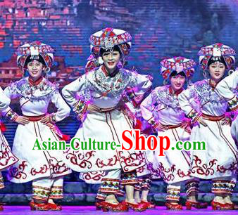 Chinese Dance Drama Colorful Guizhou Yi Nationality White Dress Stage Performance Dance Costume and Headpiece for Women