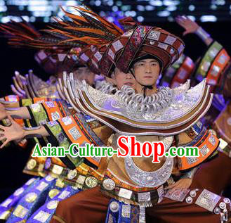 Chinese Dance Drama Colorful Guizhou Yi Nationality Brown Clothing Stage Performance Dance Costume for Men