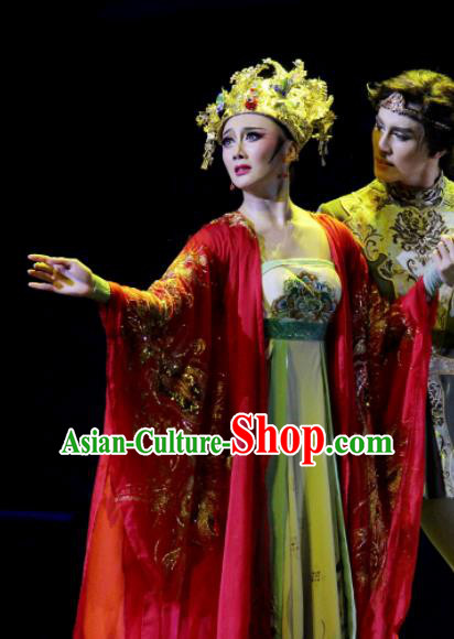 Chinese Chuansi Gongzhu Classical Dance Tang Dynasty Wedding Dress Stage Performance Dance Costume and Headpiece for Women