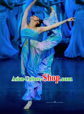 Chinese Chuansi Gongzhu Classical Dance Blue Dress Stage Performance Dance Costume and Headpiece for Women