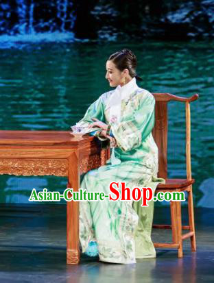 Deling and Cixi Chinese Qing Dynasty Princess Green Silk Dress Stage Performance Dance Costume and Headpiece for Women