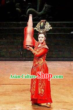 Chinese King Zhuang of Chu Ancient Spring and Autumn Period Imperial Consort Red Dress Stage Performance Dance Costume and Headpiece for Women