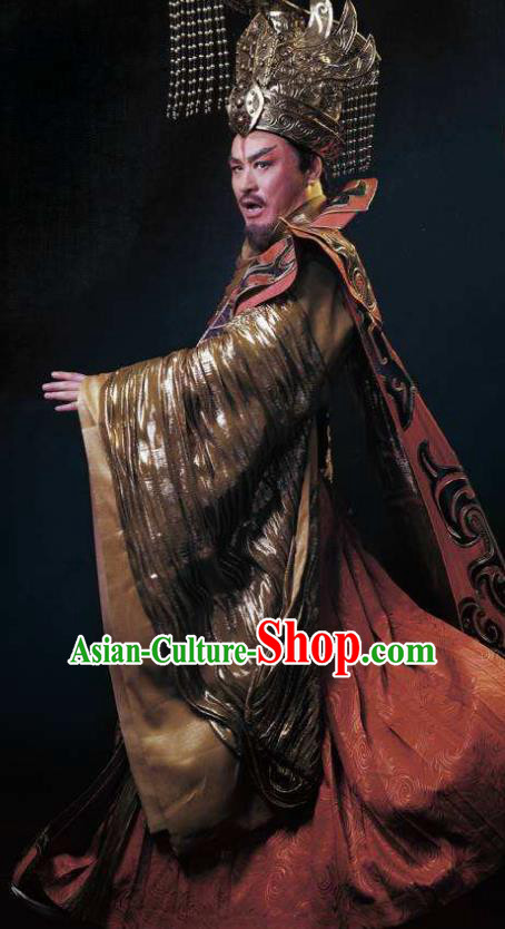 Chinese King Zhuang of Chu Ancient Spring and Autumn Period Emperor Clothing Stage Performance Dance Costume for Men
