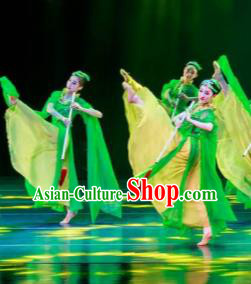 Dance Between Heaven and Earth Chinese Classical Dance Green Dress Stage Performance Dance Costume and Headpiece for Women