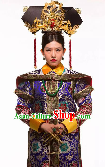 Deling and Cixi Chinese Qing Dynasty Empress Royalblue Silk Dress Stage Performance Dance Costume and Headpiece for Women