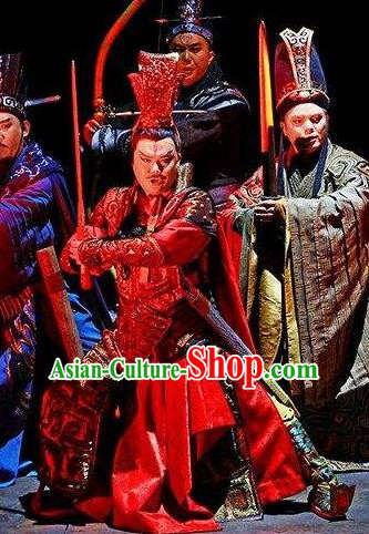 Chinese King Zhuang of Chu Ancient Spring and Autumn Period Clothing General Stage Performance Dance Costume for Men