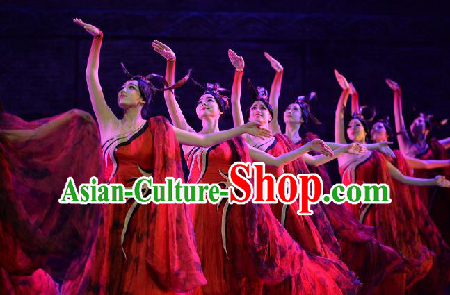Lady Zhaojun Chinese Classical Dance Red Dress Stage Performance Dance Costume and Headpiece for Women
