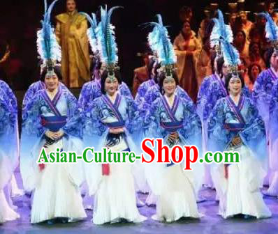 Chinese King Zhuang of Chu Ancient Spring and Autumn Period Blue Dress Stage Performance Dance Costume and Headpiece for Women