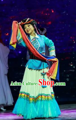 Walking Marriage Chinese Mosuo Minority Folk Dance Dress Stage Performance Dance Costume and Headpiece for Women