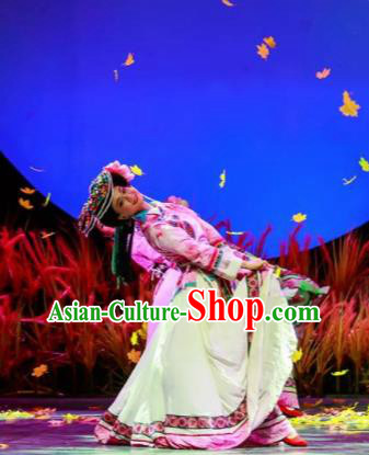 Walking Marriage Chinese Mosuo Minority Folk Dance Pink Dress Stage Performance Dance Costume and Headpiece for Women