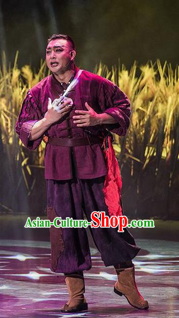 Walking Marriage Chinese Mosuo Nationality Purplish Red Clothing Stage Performance Dance Costume for Men