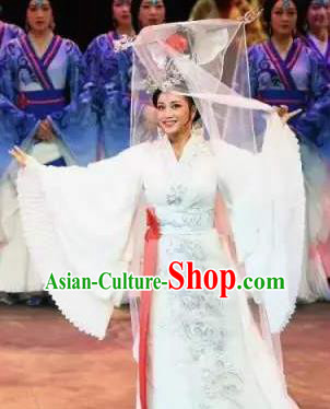 Chinese King Zhuang of Chu Ancient Spring and Autumn Period Queen White Dress Stage Performance Dance Costume and Headpiece for Women