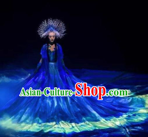 Chinese Pingtan Impression Classical Dance Blue Dress Stage Performance Dance Costume and Headpiece for Women