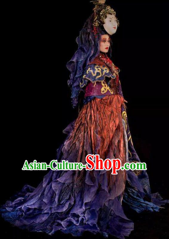 Chinese Pingtan Impression Classical Dance Goddess Matsu Dress Stage Performance Dance Costume and Headpiece for Women