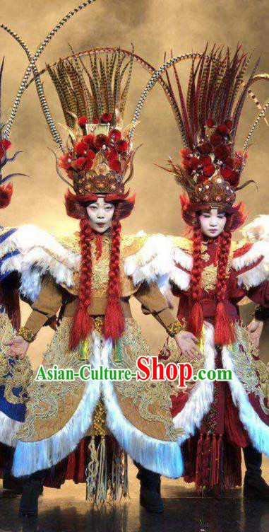 Chinese Pingtan Impression Classical Dance Khaki Dress Stage Performance Dance Costume and Headpiece for Women