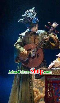 Chinese Pingtan Impression Ancient Qing Dynasty Dress Stage Performance Dance Costume and Headpiece for Women