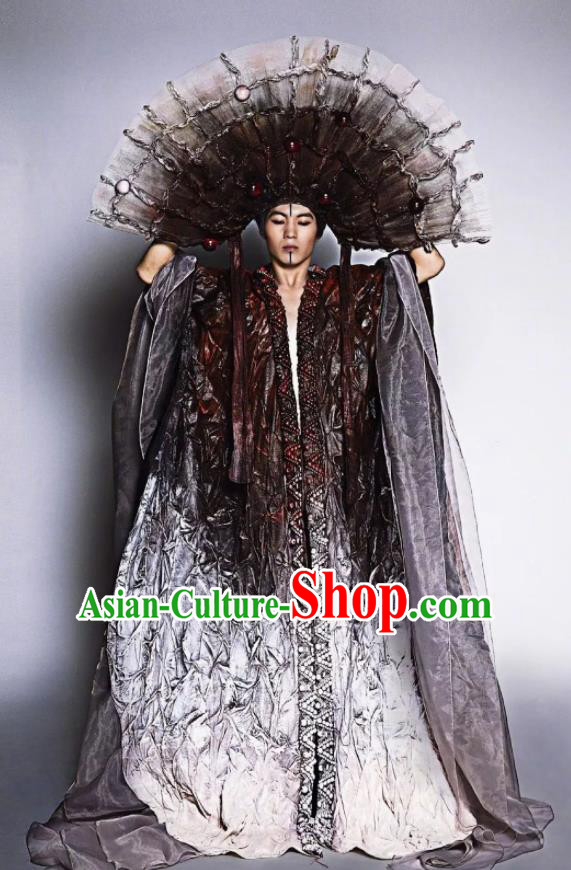 Chinese Pingtan Impression Classical Dance Clothing Stage Performance Dance Costume and Headdress for Men