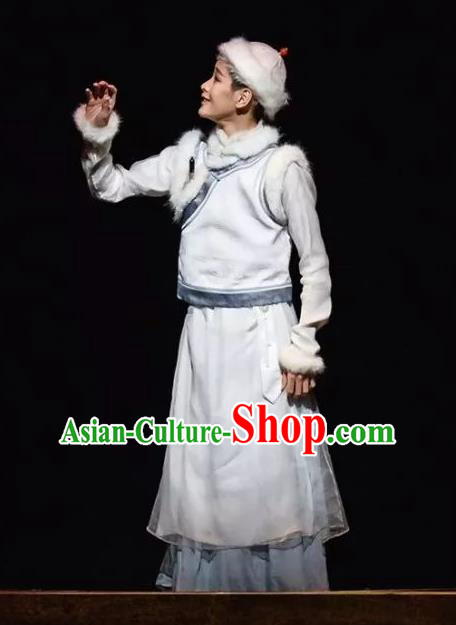 Nostalgia Is A Disease Chinese Ancient Qing Dynasty Prince White Clothing Stage Performance Dance Costume for Men