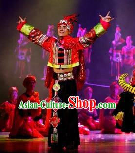 Impression Shanha Chinese She Nationality Bridegroom Clothing Stage Performance Dance Costume for Men