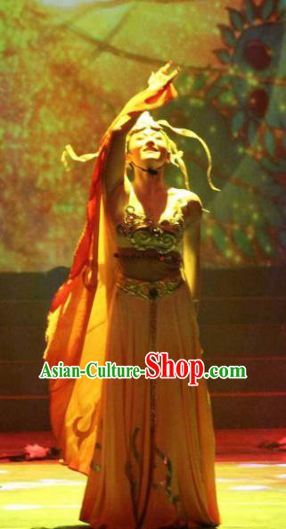 Impression Shanha Chinese She Nationality Folk Dance Dress Stage Performance Dance Costume and Headpiece for Women
