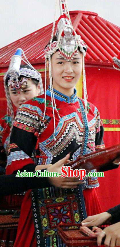 Impression Shanha Chinese She Nationality Dance Wedding Red Dress Stage Performance Dance Costume and Headpiece for Women