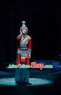 Impression Shanha Chinese She Nationality Dance Dress Stage Performance Dance Costume and Headpiece for Women