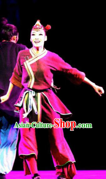 Impression Shanha Chinese She Nationality Dance Rosy Dress Stage Performance Dance Costume and Headpiece for Women