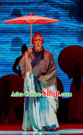 Sunsets Chinese Classical Dance Ancient Confucian Scholar Clothing Stage Performance Dance Costume for Men