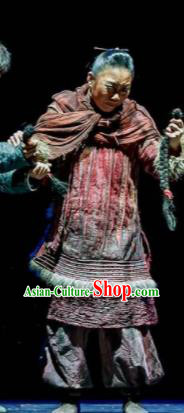 Fu Sheng Chinese Folk Dance Old Female Dress Stage Performance Dance Costume and Headpiece for Women