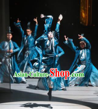 Meet Millennium Chinese Classical Dance Blue Clothing Stage Performance Dance Costume for Men