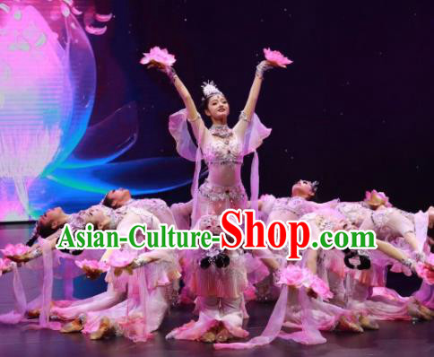 Meet Millennium Chinese Classical Dance Flying Apsaras Dress Stage Performance Dance Costume and Headpiece for Women