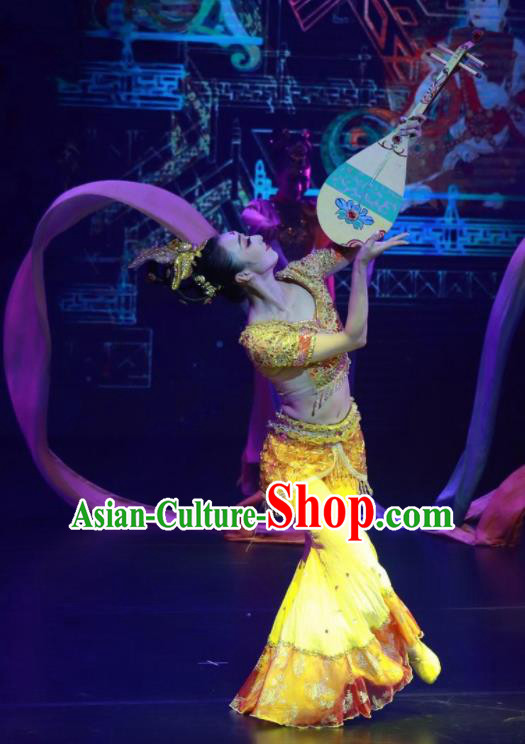 Meet Millennium Chinese Classical Dance Flying Apsaras Yellow Dress Stage Performance Dance Costume and Headpiece for Women