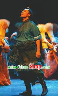 Chen Ai Luo Ding Chinese Tibetan Nationality Folk Dance Clothing Stage Performance Dance Costume for Men