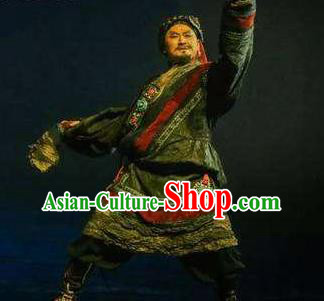Chen Ai Luo Ding Chinese Tibetan Nationality Dance Clothing Stage Performance Dance Costume for Men