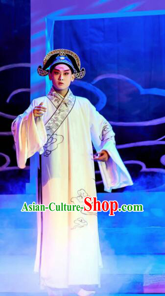 Chinese Peking Opera Lanruo Temple Scholar Ning Caichen Clothing Stage Performance Dance Costume and Hat for Men