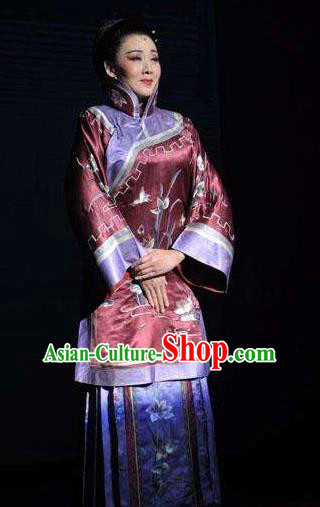 Huizhou Beauty Chinese Huangmei Opera Wine Red Dress Stage Performance Dance Costume and Headpiece for Women