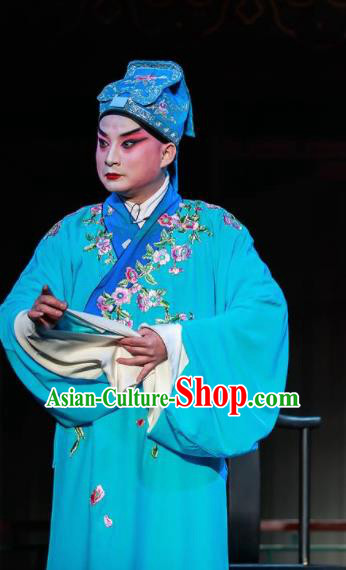 Huizhou Beauty Chinese Peking Opera Song Jiang Blue Clothing Stage Performance Dance Costume and Headpiece for Men