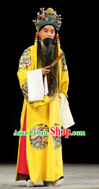 Han Consort Ming Chinese Peking Opera Emperor Yellow Clothing Stage Performance Dance Costume and Headpiece for Men