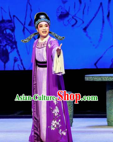 Phoenix Hairpin Chinese Peking Opera Niche Purple Clothing Stage Performance Dance Costume and Headpiece for Men