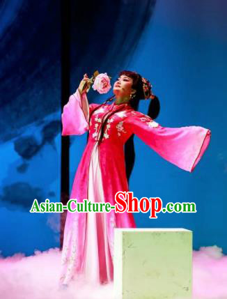 Huang Ye Hong Lou Chinese Peking Opera Lin Daiyu Rosy Dress Stage Performance Dance Costume and Headpiece for Women
