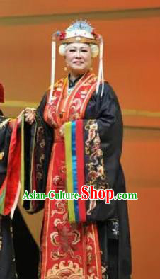 Huang Ye Hong Lou Chinese Peking Opera Dowager Jia Dress Stage Performance Dance Costume and Headpiece for Women
