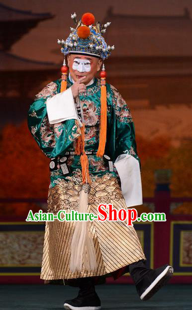 Imperial Concubine Mei Chinese Peking Opera Eunuch Green Clothing Stage Performance Dance Costume and Headpiece for Men