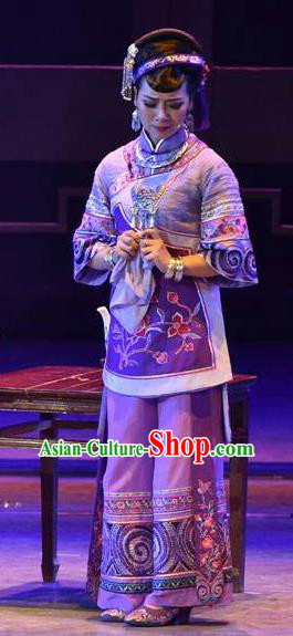 Huang Si Jie Chinese Tujia Minority Purple Dress Stage Performance Dance Costume and Headpiece for Women