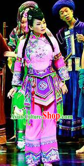 Huang Si Jie Chinese Tujia Minority Lilac Dress Stage Performance Dance Costume and Headpiece for Women