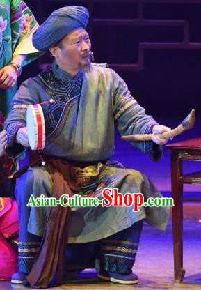 Huang Si Jie Chinese Tujia Minority Old Male Clothing Stage Performance Dance Costume and Headpiece for Men