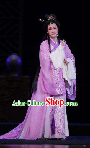 Chinese Shaoxing Opera Bronze Swallow Terrace Zhen Luo Purple Dress Stage Performance Dance Costume and Headpiece for Women