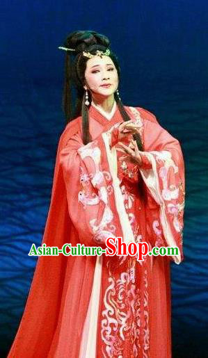 Chinese Shaoxing Opera Bronze Swallow Terrace Zhen Luo Red Dress Stage Performance Dance Costume and Headpiece for Women